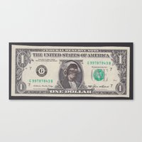 planet of the apes Canvas Prints featuring Planet of the Apes currency 1$ by Michael Tunk