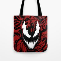 carnage Tote Bags featuring carnage by Rebecca McGoran