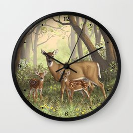 Whitetail Doe and Cute Twin Fawns Wall Clock
