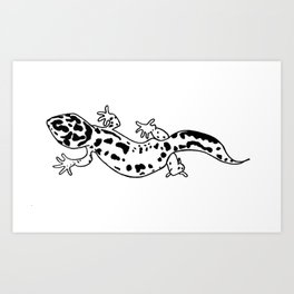 Black and White Gecko Art Print