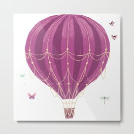 Fly Balloon With Birds And sparkle Metal Print