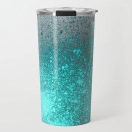 Vibrant Aqua and Grey Spray Paint Splatter Travel Mug