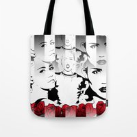 miley cyrus Tote Bags featuring Miley Cyrus by Kunooz