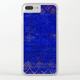 V11 Calm Blue Printed of Original Traditional Moroccan Carpet Clear iPhone Case