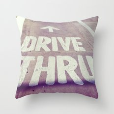 drive thru Throw Pillow