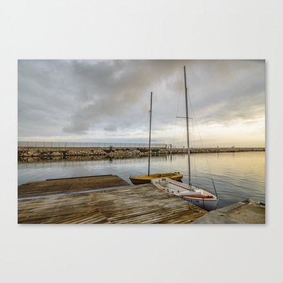 Sunrise on the marina Canvas Print
