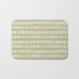 Cream on Earthy Green Parable to 2020 Color of the Year Back to Nature Bold Grunge Vertical Stripes Bath Mat
