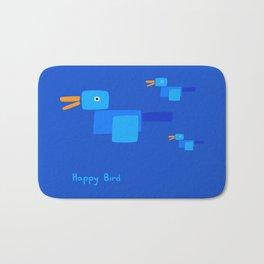 Happy Bird-Blue Bath Mat