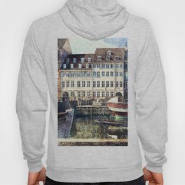 Copenhagen, Nyhavn harbor famous landmark and entertainment district Hoody