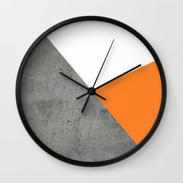Concrete Tangerine White Wall Clock