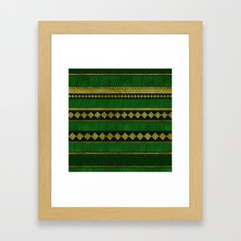 Celtic Knot Decorative Gold and Green pattern Framed Art Print