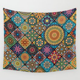 Vintage patchwork with floral mandala elements Wall Tapestry