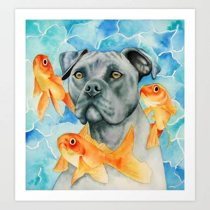 Guardian | Pit Bull Dog and Goldfishes Watercolor Painting Art Print