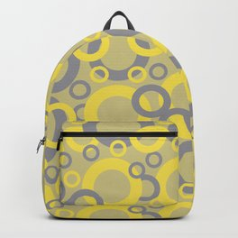 Yellow Grey Yellow-Green Circle Pattern Pantone 2021 Color of the Years and Accent Shades Backpack