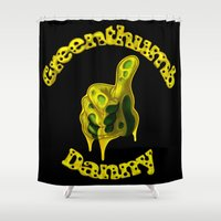 danny ivan Shower Curtains featuring Danny Greenthumb by Oilworkz