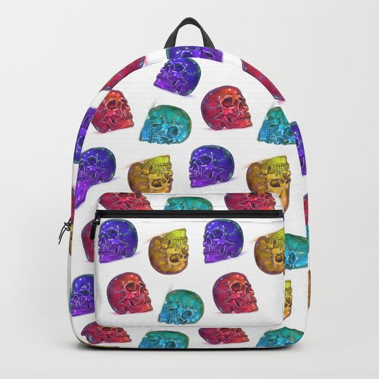 Rainbow Crystal Skulls Pattern Backpack