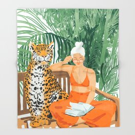 Jungle Vacay #painting #illustration Throw Blanket