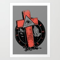 religion Art Prints featuring Religion by Tshirt-Factory