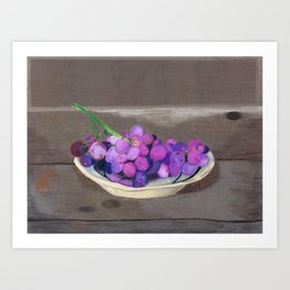 Grapes on Wood Table Art Print