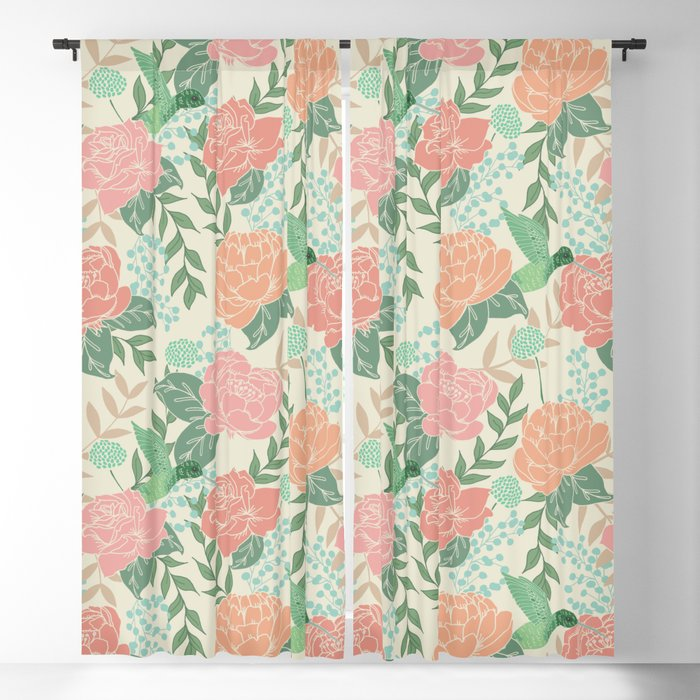 Victorian Garden with Hummingbird Blackout Curtain