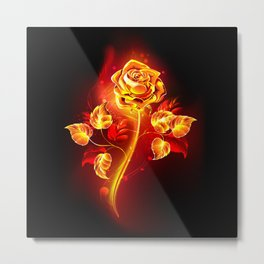 Fire Rose Metal Print