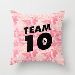 Team 10 Pink Camo Throw Pillow