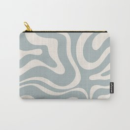 Modern Liquid Swirl Abstract Pattern in Light Blue-Grey and Cream  Carry-All Pouch