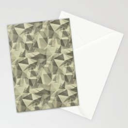 Abstract Geometrical Triangle Patterns 3 Natural Olive Green - Martinique Dawn - Asian Silk Stationery Cards
