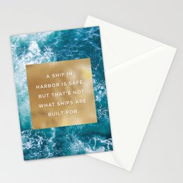 Ship in Harbor Stationery Cards
