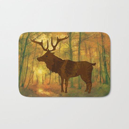 Deer in autumn Bath Mat