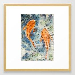 Koi Fishes in a pond Framed Art Print