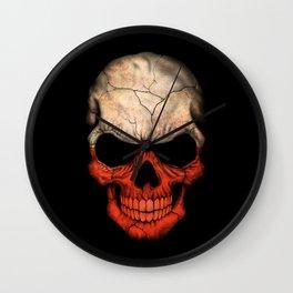 Dark Skull with Flag of Poland Wall Clock