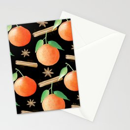 Tangerines, Cinnamon and Star Anise Watercolor Illustration and Pattern on Black Stationery Cards