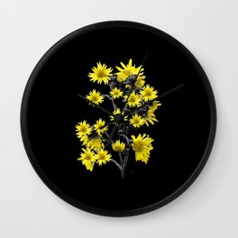 Sunflowers Over Black Wall Clock
