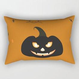 Happy Halloween Card with evil pumpkin Rectangular Pillow