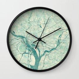 Washington Map Blue Vintage Wall Clock