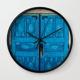 Blue Doors of San Ysidro Mission - Jemez Reservation, New Mexico Wall Clock