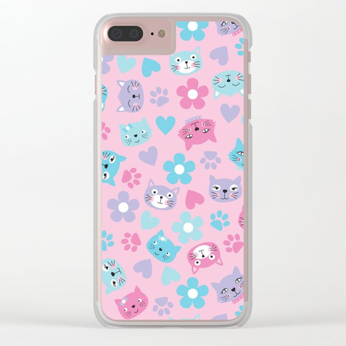 Kitty Cat Pattern by Everett Co Clear iPhone Case