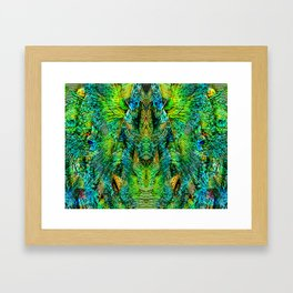 Mirrored Peacock Feather Design Framed Art Print