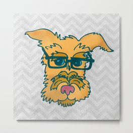 Mack The Cool Nerd Terrier Dog Metal Print