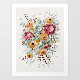 Fall Protea Bouquet Art Print