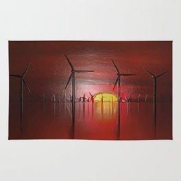 Windmills in the Sun (Digital Art) Rug