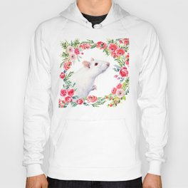 White Rat with Flowers Watercolor Floral Pattern Animal Hoody