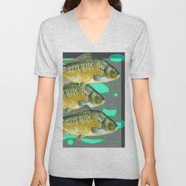 SCHOOL OF GREENISH-YELLOW FISH  IN GREY ART Unisex V-Neck