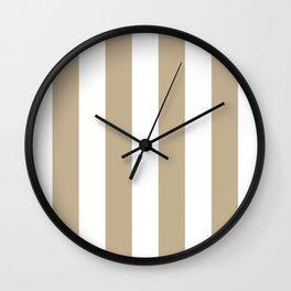 Vertical Stripes - White and Khaki Brown Wall Clock