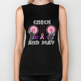 Naughty Breast Cancer Awareness Art For Women Dark Biker Tank