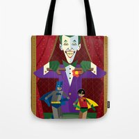 theater Tote Bags featuring Joker's Theater by Szoki