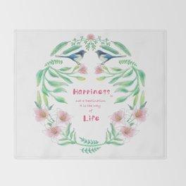 Happiness - Botanic bird water lily - Green, pink - Circle Throw Blanket