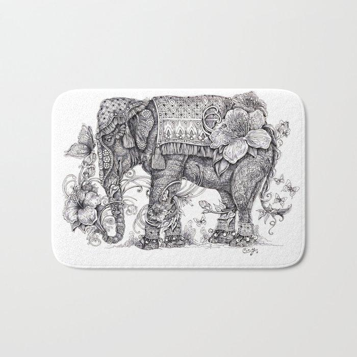 """Anesh the Creative Elephant"" Bath Mat"