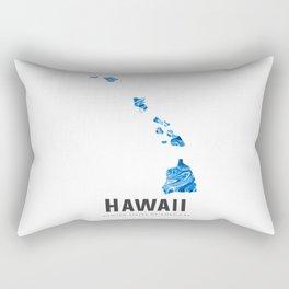 Hawaii - State Map Art - Abstract Map - Blue Rectangular Pillow